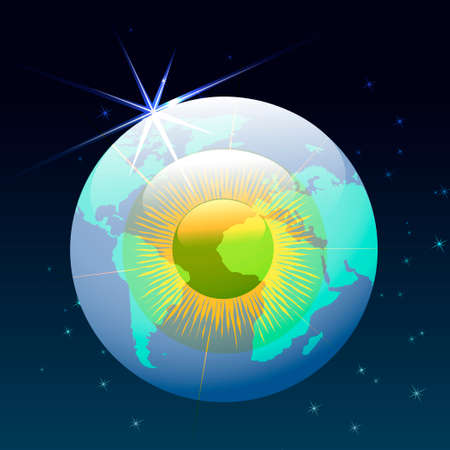 geographic: illustration of  human eyeball with world geographic contours which flying in a space Illustration