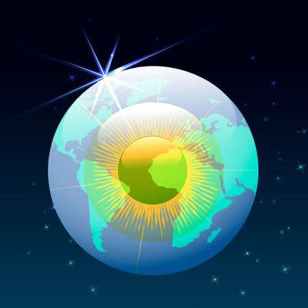 zeměpisný: ilustrace lidské oční bulvy s světové zeměpisné obrysy, které létání v prostoru Ilustrace