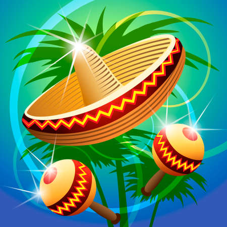 vector illustration of mexican carnival hat and maracas