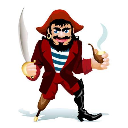 illustratie van smilling pirat met roken buis en sabel Stock Illustratie