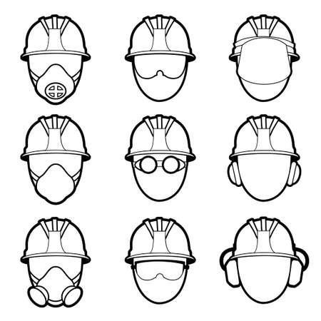 protective eyewear: Vector set of human protective work wear icons Illustration
