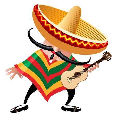 latinas: vector illustration of mexican musician in sombrero with guitar drawn in cartoon style