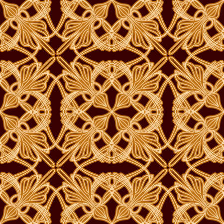 seamless pattern with floral elements on dark background drawn in vintage style Vector