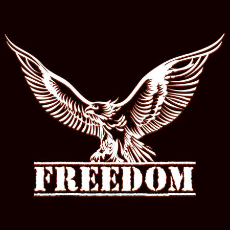 illustration of eagle over inscription freedom drawn in engraving style Illustration