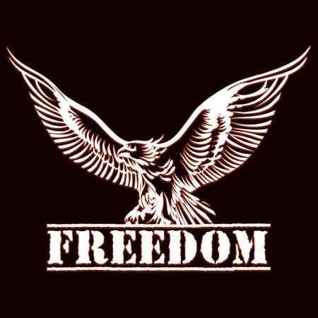 Illustration der Adler über Inschrift Freiheit Gravur Stil gezeichnet