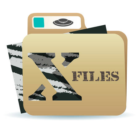 x files: illustration of X files folder icon with inexplicable and mysterious material inside
