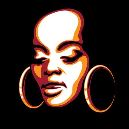 aretes: ilustración de rostro de mujer joven africano dibujado en el arte pop del estilo del cartel