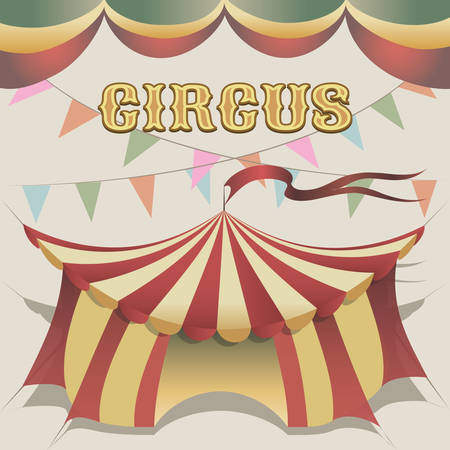 illustration of carnival tent drawn in retro poster style Illustration
