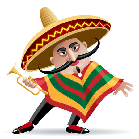illustration of mexican musician in sombrero with trumpet drawn in cartoon style Ilustracja