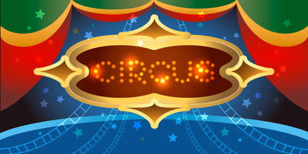 school carnival: Circus board with shining lamps against stage drawn in a poster style Illustration