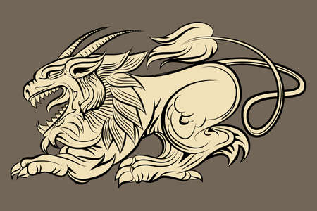 Medieval mythological monster drawn in engraving style Vector
