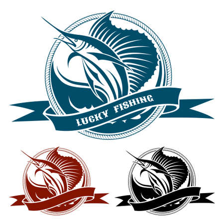 cartoon fish: Retro nautical label with jumping sail fish drawn in three colors isolated on white