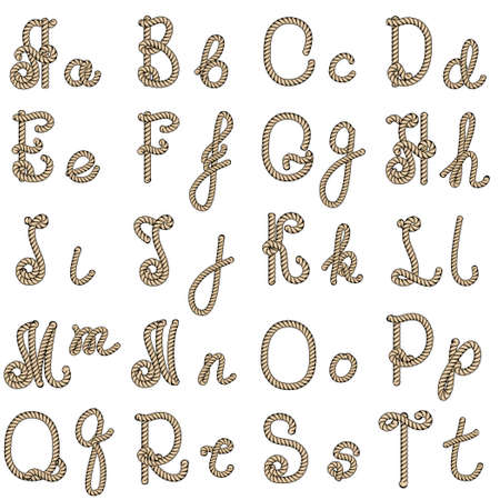 graffiti alphabet: Old rope hand drawn alphabet letters from A to T