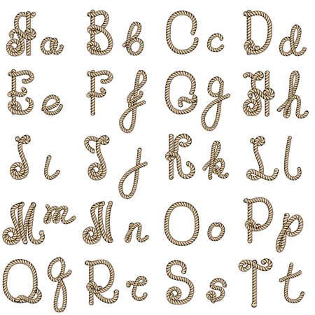lettres alphabet: Vieille corde tir�e par la main lettres de l'alphabet de A � T Illustration