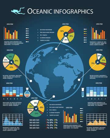 대양의: 해양 식량 자원과 생태 infographics입니다 템플릿