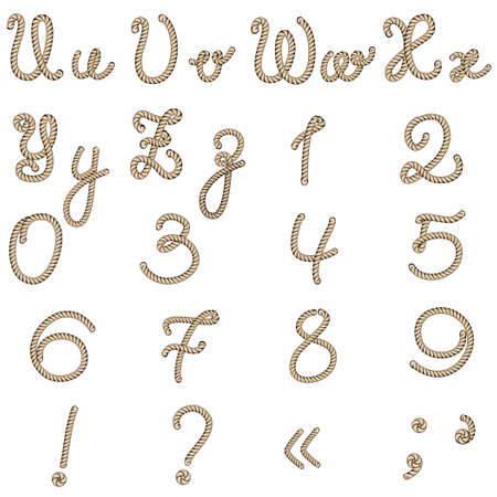 Old rope hand drawn alphabet letters from U to Z and numbers