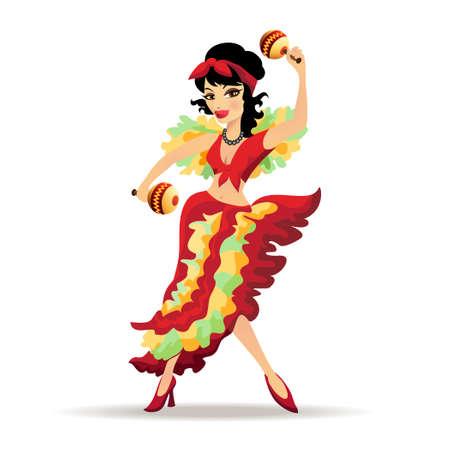 Ilustración de la hermosa bailarina latina con maracas aislado en blanco
