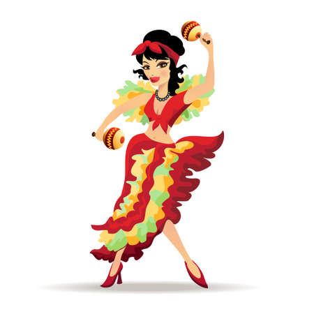 bailando flamenco: Ilustraci�n de la hermosa bailarina latina con maracas aislado en blanco