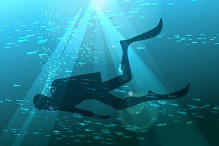 deep sea diver: Illustration of scuba diver in deep sea against schools of fishes