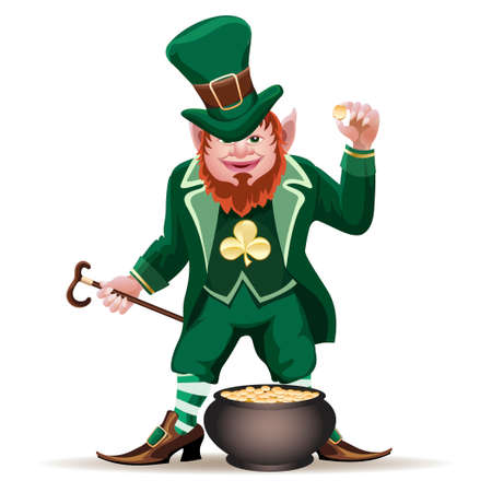 Illustration of smiling leprechaun with a cauldron full of golden coins  isolated on white Vector