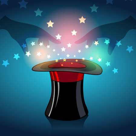 Illustration of magician hat and magic stars and glow