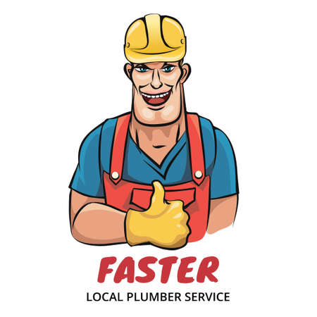 dungarees: Illustration of smiling plumber isolated on white. Good for your servce company logo Illustration