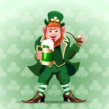 Illustration of smiling leprechaun with green beer mug and smoking pipe Vector