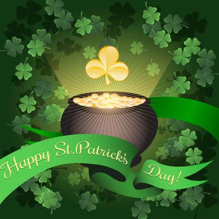 full day: Illustration of cauldron full of golden coins and greeting Saint Patricks Day ribbon against flying shamrocks