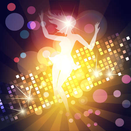 Illustration of young girl dancing in a night club against discotheque lights