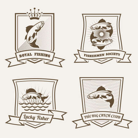 Set of labels or badges with salmon fish drawn in retro monochrome style Vector