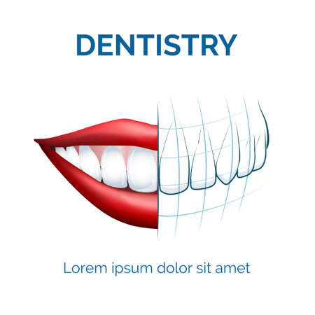 Illustration of human mouth, lips and teeth and dental tomography for your dentistry