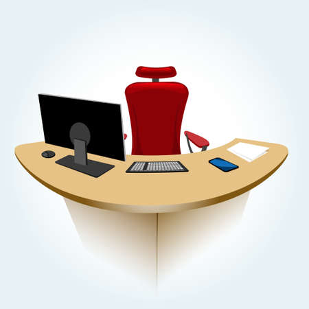 Illustration of modern typical office manager working place Vector