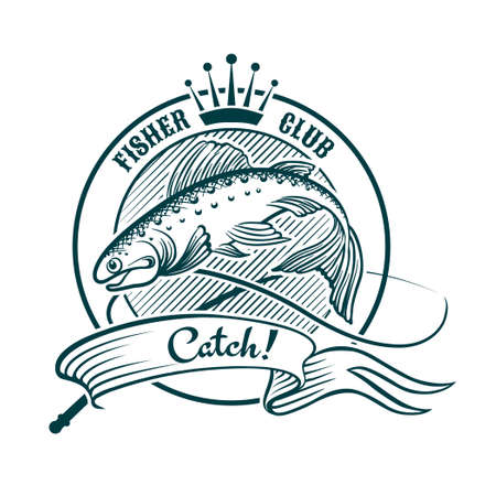 Badge or label with jumping salmon. Good for your fishing club logo. Isolated on White. Vector