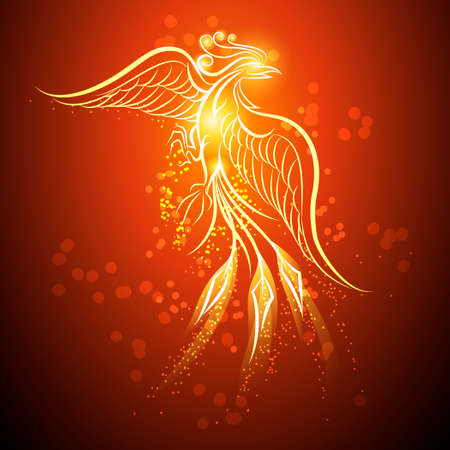 bird feathers: Illustration of rising Phoenix against red dark background as symbol of rebirth