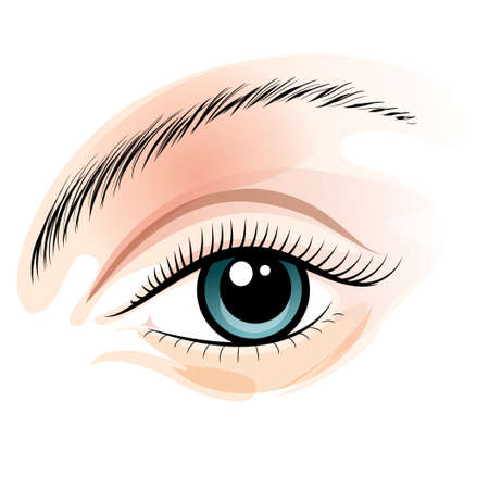 Illustration of female wide open eye drawn in wattercolor style.