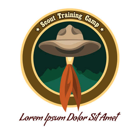 Scout camp colorful badge or icon. Drawn without meshes or gradients. Only free fonts used. Vector