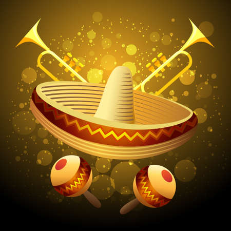 Illustration of fiesta celebration with sombrero, maracas and trumpets against festive background Иллюстрация