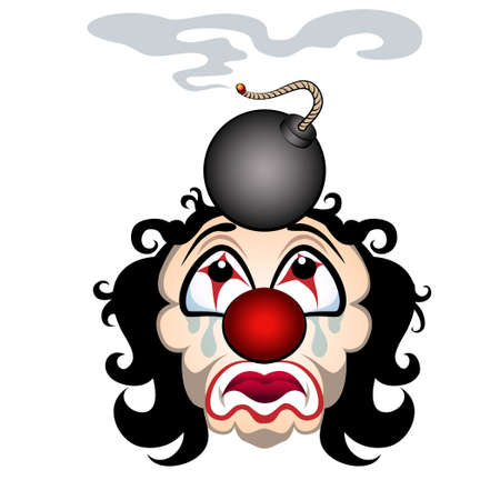 Comic illustration of the sad clown with the lit bomb on his head. Isolated on white background. Vector