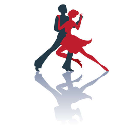 Illustration of tango dancers pair silhouettes with a shadow. Isolated on white background. Good for logo. Vettoriali