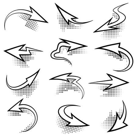 chipping: Icon set of arrows with half-tone shadows. Isolated on white background. Illustration
