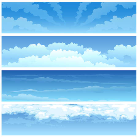 cloudscapes: Set of various day cloudscapes. Isolated on white background.