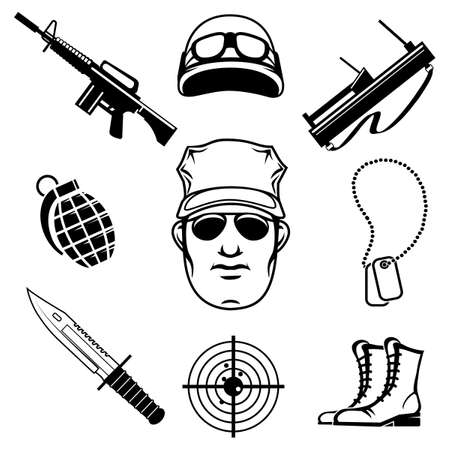 special forces: Military and special forces icon set. Isolated on white background. Illustration