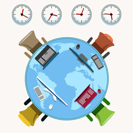 Office table with working places, chairs and various time zone clocks as modern global business conception. Vector