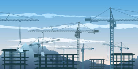 Seamless horizontal pattern with building yard and cranes.