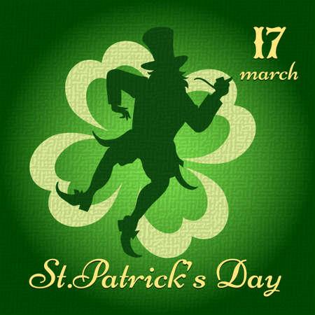 leprechaun on clover: Saint Patricks Day background with dancing leprechaun darwn in vintage style
