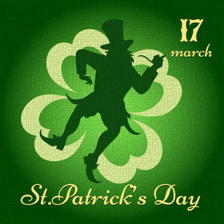 Saint Patricks Day background with dancing leprechaun darwn in vintage style