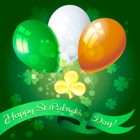 shamrock: Saint Patricks Day festive greeting card with golden shamrock and balloons.