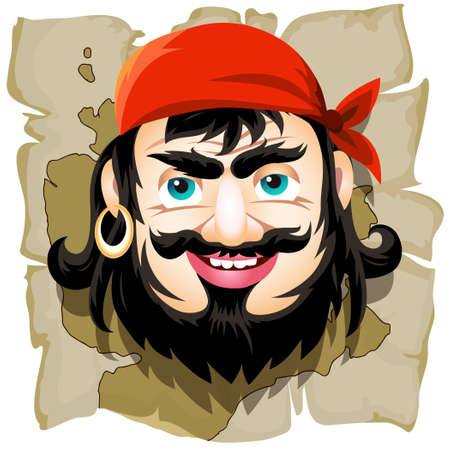 sneer: Smiling pirate against a treasure map drawn in cartoon style. Isolated on white background. Illustration