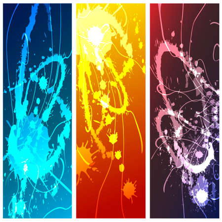Set of chaotic neon paint splashes against colorful background. Vector