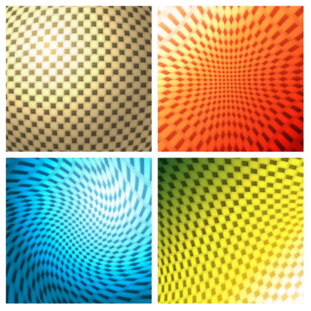 checkerboard: Twisted checkerboard pattern set. Isolated on white background.